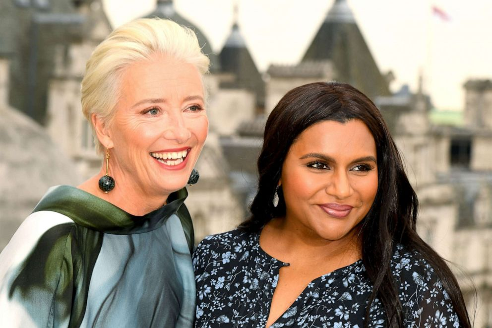 PHOTO: Emma Thompson and Mindy Kaling from the 2019 film, Late Night, pose for photographers at Corinthia Hotel London on May 17, 2019, in London.