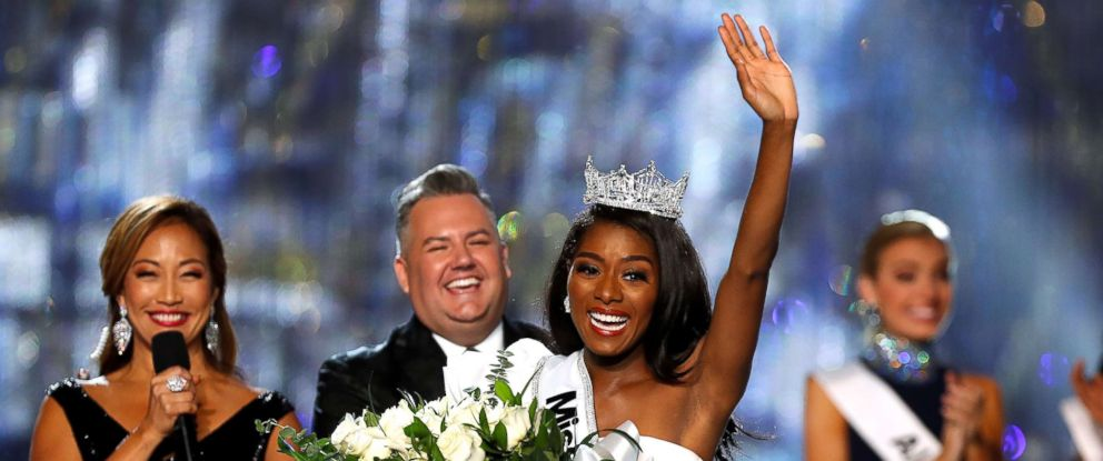 PHOTO: Miss New York Nia Franklin waves to the audience after winning the Miss America 2019 pageant in Atlantic City, N.J., Sept. 9, 2018.