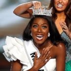 Miss New York Nia Franklin reacts after being named Miss America 2019, as she is crowned by last year's winner Cara Mund, in Atlantic City, N.J., Sept. 9, 2018.
