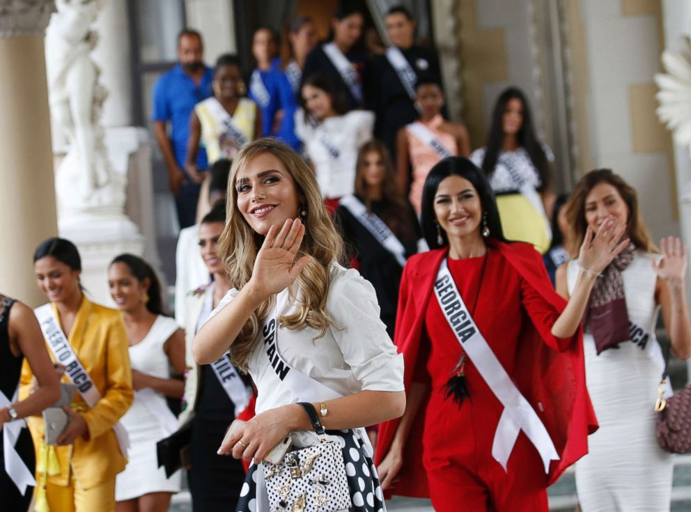 PHOTO: Miss Spain Angela Ponce, center, the first transgender woman to take part in the Miss Universe contest, with Miss Universe 2018 contestants visits the Government House in Bangkok, Thailand, Dec. 11, 2018.