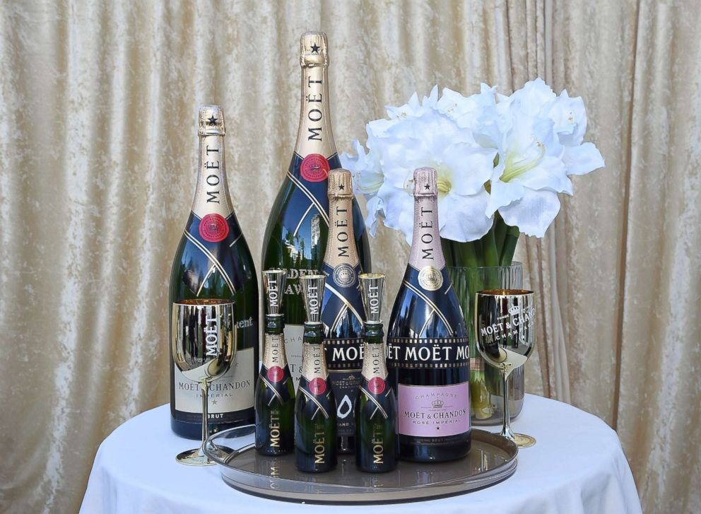 PHOTO: Bottles of Moet & Chandon on display at the 76th Golden Globe Awards Show Menu Unveiling at The Beverly Hilton Hotel, Dec. 13, 2018, in Los Angeles.