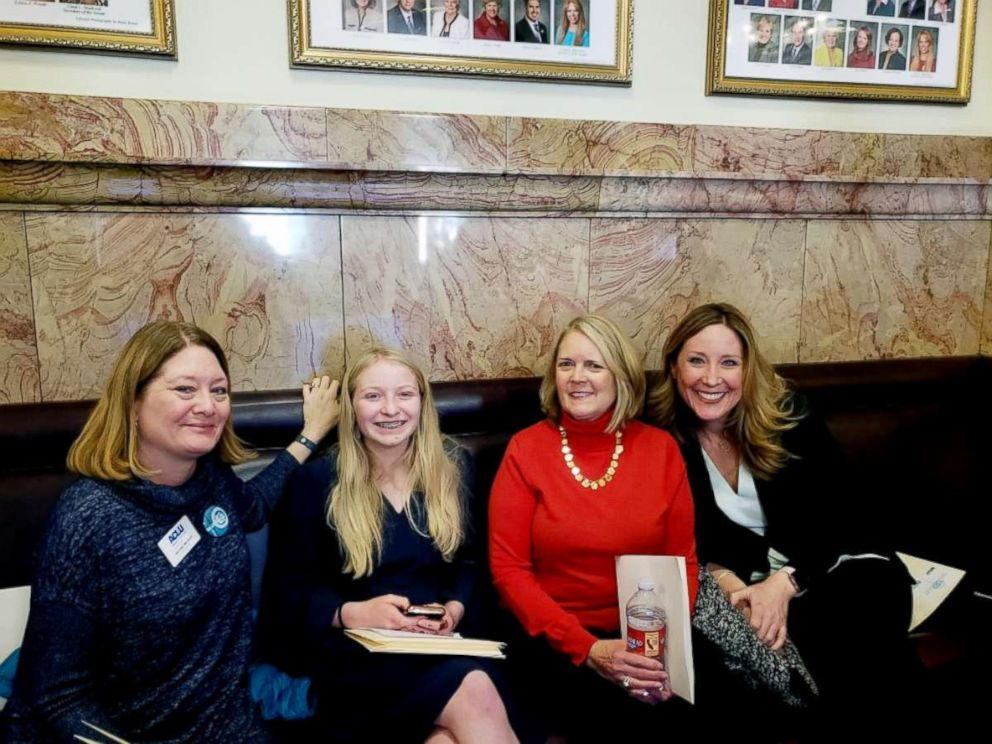 PHOTO: Moira Lees, 14, second from left, poses with other supports of proposed legislation in Colorado that would add consent to sex education curriculum.