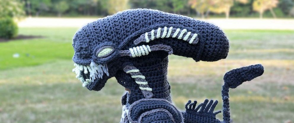 PHOTO: Jacob Pokorny, 7 of Mentor, Ohio, wears an Alien costume his mother Stephanie Pokorny crocheted for him by hand.