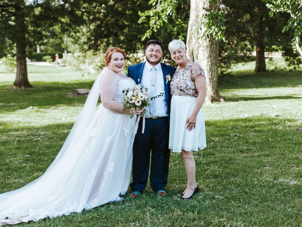 PHOTO: Sara Cunningham of Oklahoma City, Oklahoma, stood in at Sam and Haley Hedricks wedding on June 2, 2019, as a support system for the couple on their big day.