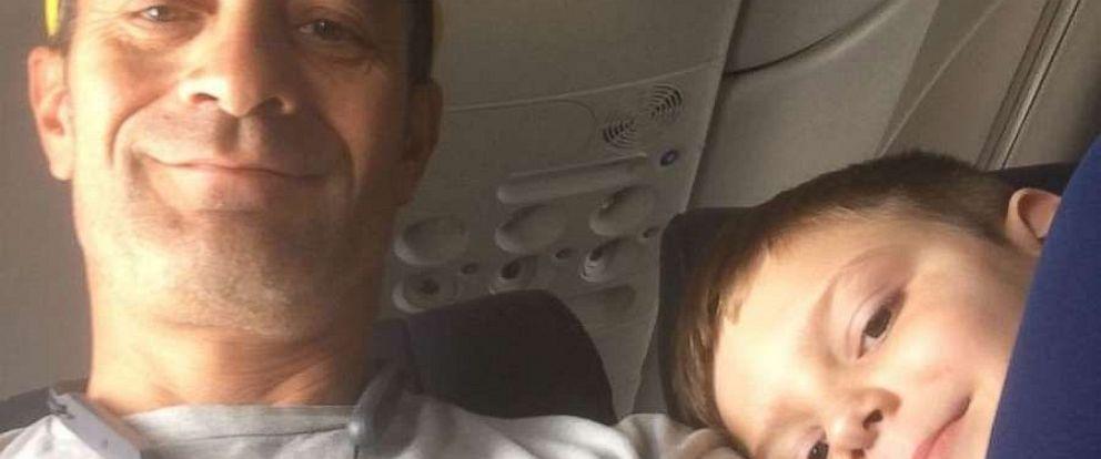 PHOTO: Ben Pedraza poses in a selfie with Landon Bjornson, 7, of Las Vegas, Nevada, during a flight to Portland, Oregon.