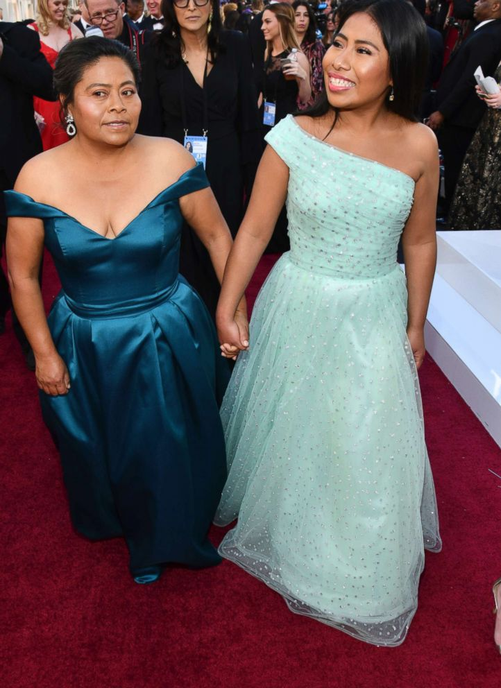 PHOTO: Margarita Martinez Merino, left, and Yalitza Aparicio arrive at the Oscars. Feb. 24, 2019, at the Dolby Theatre in Los Angeles.