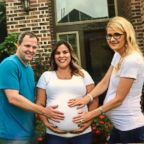 James and Andrea Valentine pose with their neighbor and surrogate, Tawnee Gonzalez of Cypress, Texas.