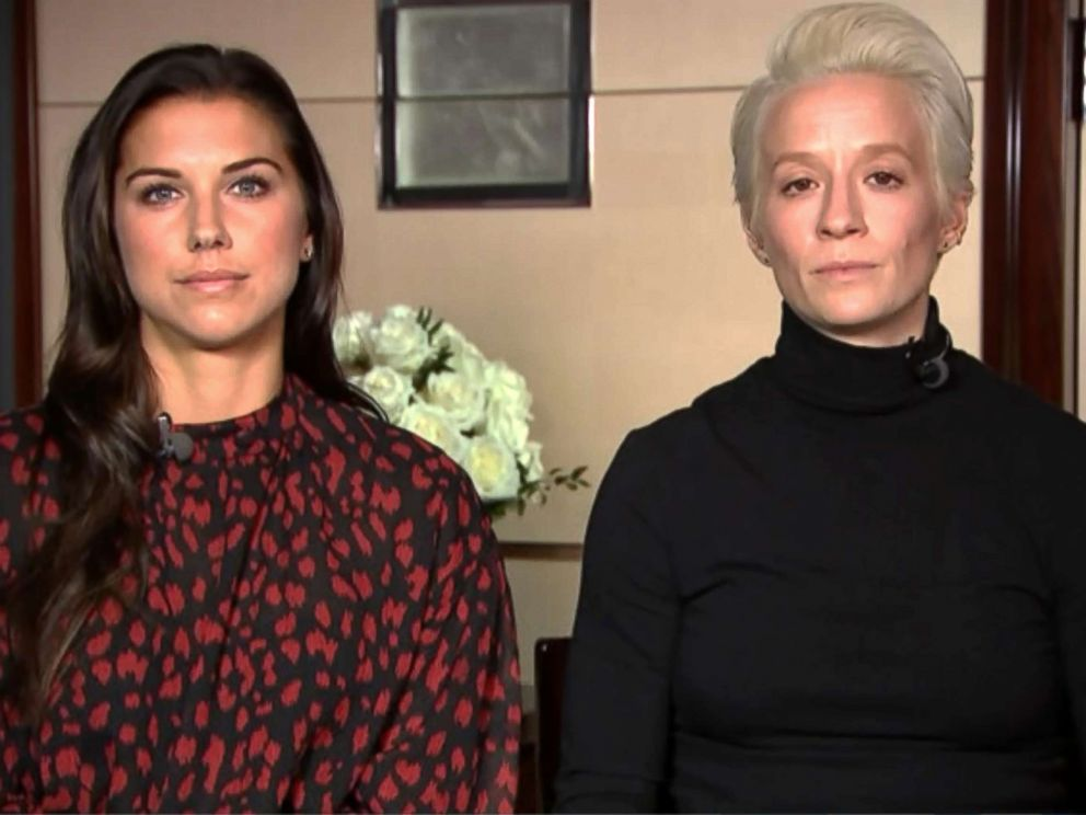 PHOTO: Alex Morgan and Megan Rapinoe appear on Good Morning America, March 11, 2019.