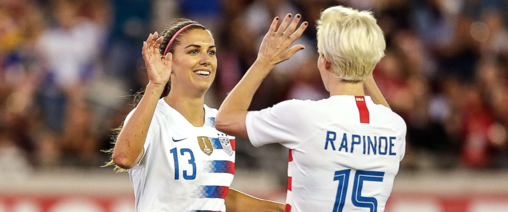 PHOTO: Alex Morgan and Megan Rapinoe celebrate a goal during the International Friendly match between the U.S. and Mexico in Jacksonville, Fla., April 5, 2018.