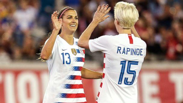 26ca8c0bd Alex Morgan and Megan Rapinoe celebrate a goal during the International  Friendly match between the U.S.