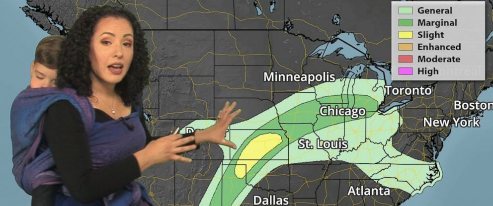 PHOTO: Praedictix meteorologist Susie Martin of Minnesota, is empowering viewers after she wore her toddler while reporting the forecast.