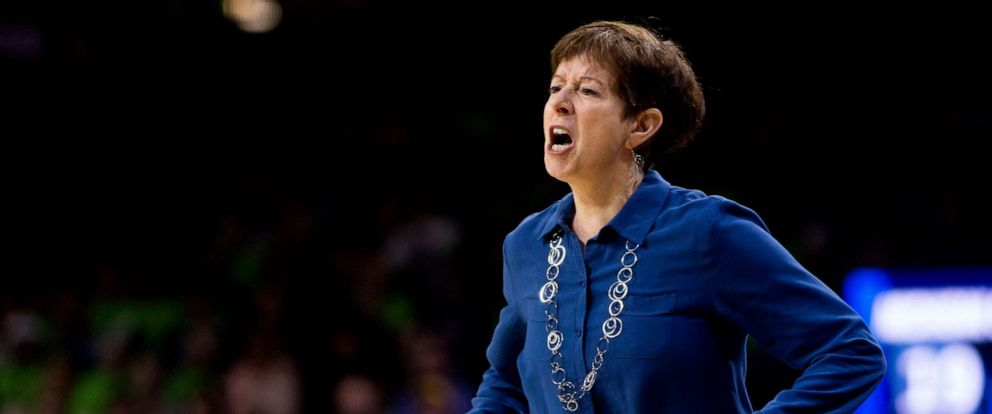 PHOTO: Notre Dame head coach Muffet McGraw yells at her players during a second-round game against Michigan State in the NCAA womens college basketball tournament in South Bend, Ind., March 25, 2019.