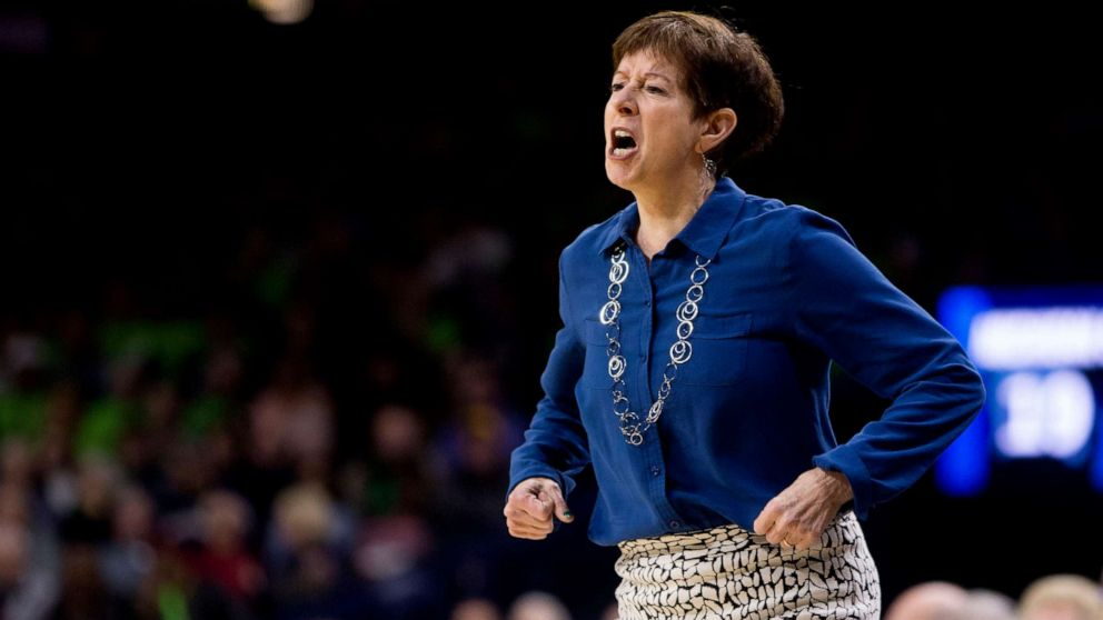 Notre Dame head coach Muffet McGraw yells at her players during a second-round game against Michigan State in the NCAA women's college basketball tournament in South Bend, Ind., March 25, 2019.