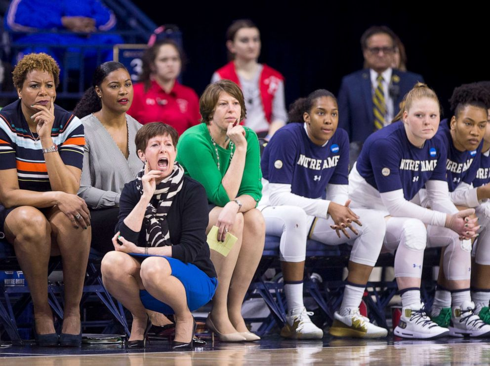 PHOTO: Notre Dame head coach Muffet McGraw yells to players during a first-round game against Bethune-Cookman in the NCAA womens college basketball tournament in South Bend, Ind., March 23, 2019.