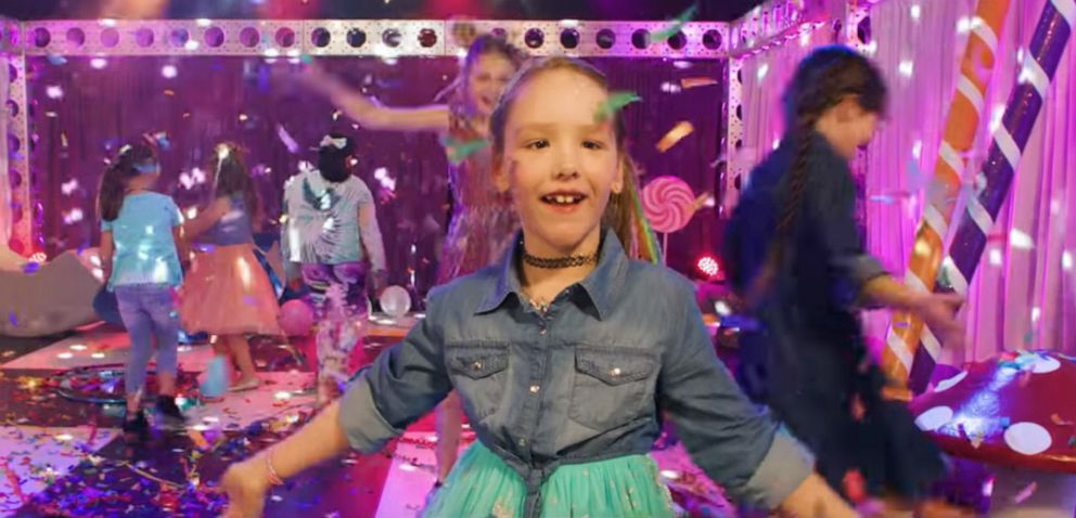 PHOTO: Ashlin Sanders, 7, danced to the Kidz Bop song Best Time Ever with friends and family. The music video she made was viewed by thousands on YouTube and social media.