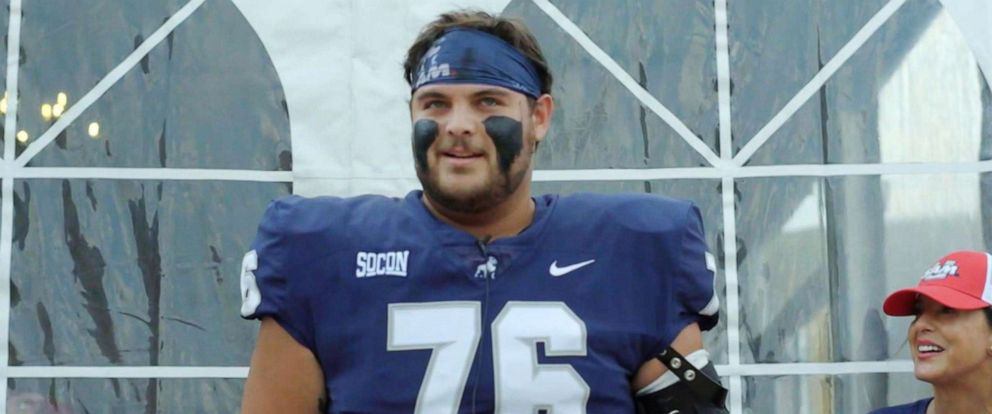 PHOTO: Samford University football player George Andrew Grimwade changed his last name to honor his step-father George Grimwade Musto.
