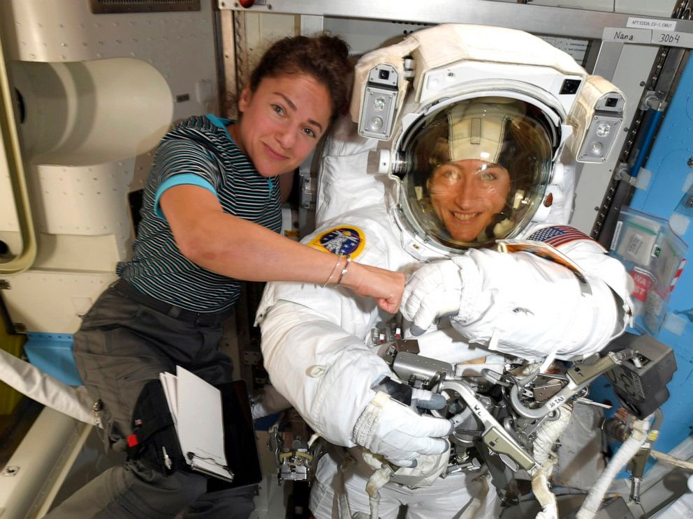 PHOTO: Astronauts Christina Koch, right, and, Jessica Meir pose on the International Space Station in a NASA photo provided on Oct. 4, 2019.