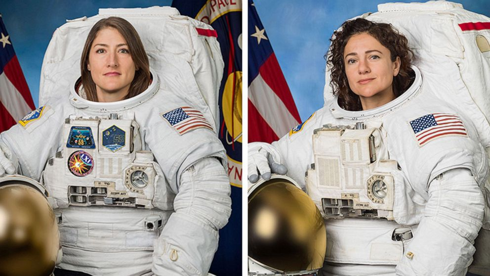PHOTO:Astronauts Christina Koch and Jessica Meir posing for their official NASA portraits released on Oct. 18, 2019.