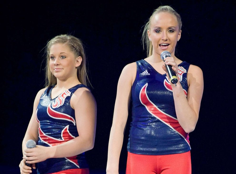 PHOTO: Shawn Johnson and Nastia Liukin during the Tour Of Gymnastics Superstars at the Conseco Fieldhouse, Nov. 11, 2008 in Indianapolis, Ind.