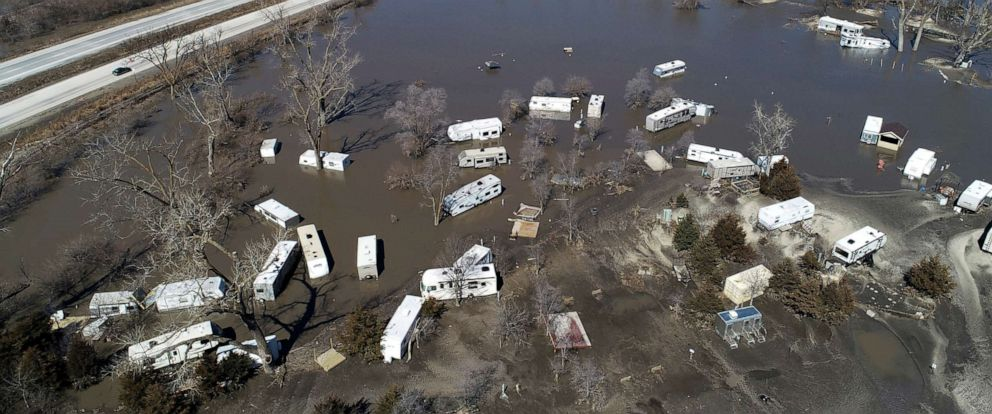 PHOTO: Floodwaters near the Platte River in in Plattsmouth, Neb., south of Omaha, March 20, 2019.