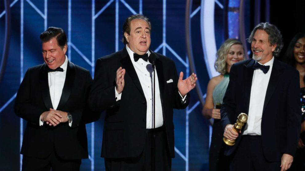 """Nick Vallelonga accepts the award for best screenplay for """"Green Book"""" during the 76th Annual Golden Globe Awards at the Beverly Hilton Hotel on Jan. 6, 2019, in Beverly Hills, Calif."""