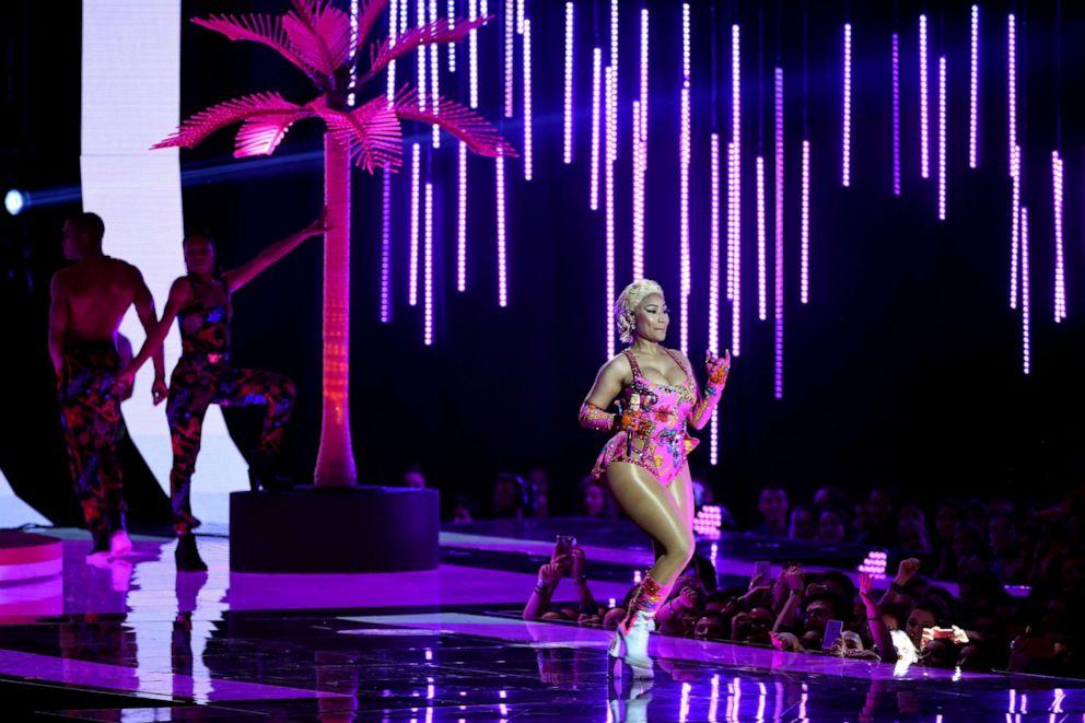 PHOTO: Nicki Minaj performs on stage during the MTV EMAs 2018 at Bilbao Exhibition Centre, Nov. 4, 2018, in Bilbao, Spain.