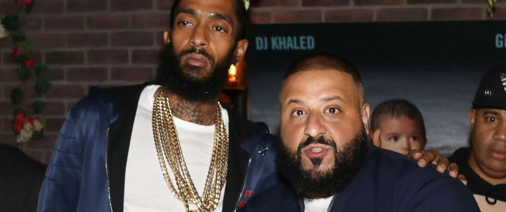 PHOTO: Nipsey Hussle and DJ Khaled attend DJ Khaled Grateful Platinum Celebration in this Aug. 25, 2017 file photo in Los Angeles.