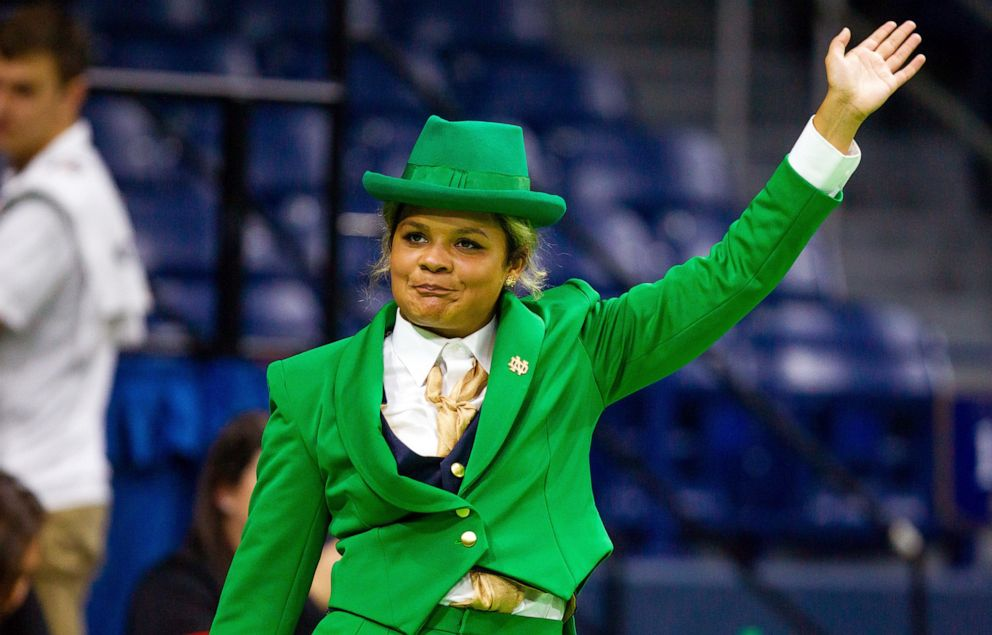 PHOTO: Lynette Wukie made her debut as Notre Dames first female leprechaun at a womens volleyball game on Aug. 31, 2019, in South Bend, Ind.
