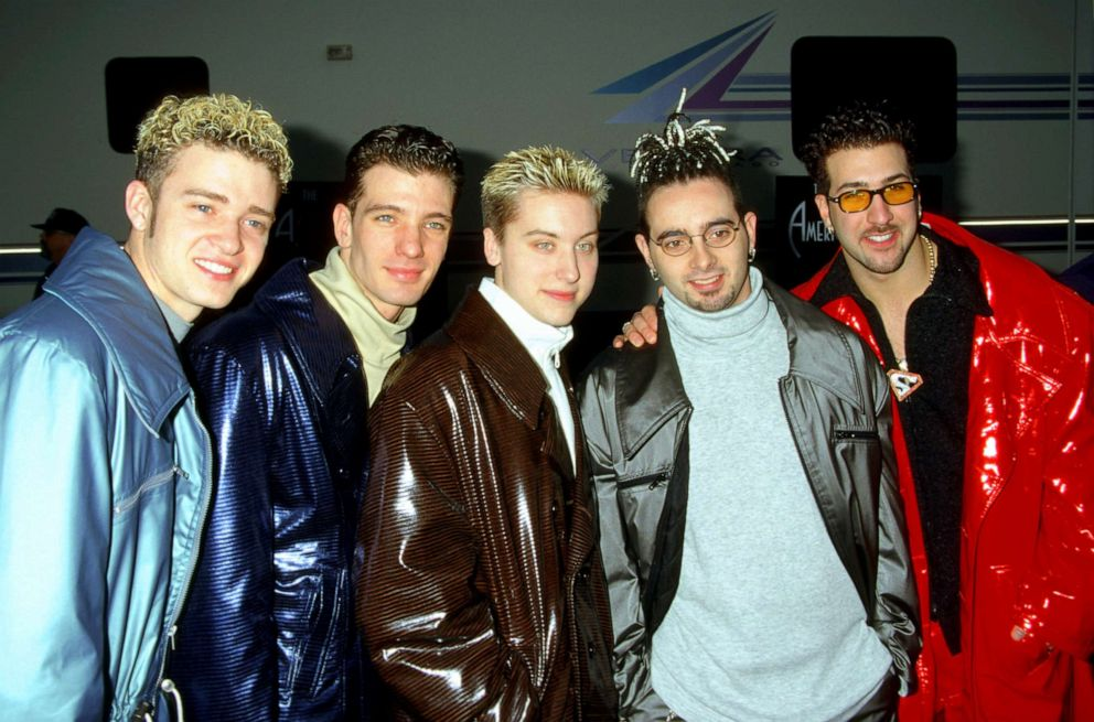 PHOTO: From left, Justin Timberlake, JC Chasez, Lance Bass, Chris Kirkpatrick and Joey Fatone Jr. of NSYNC pose for a photo.