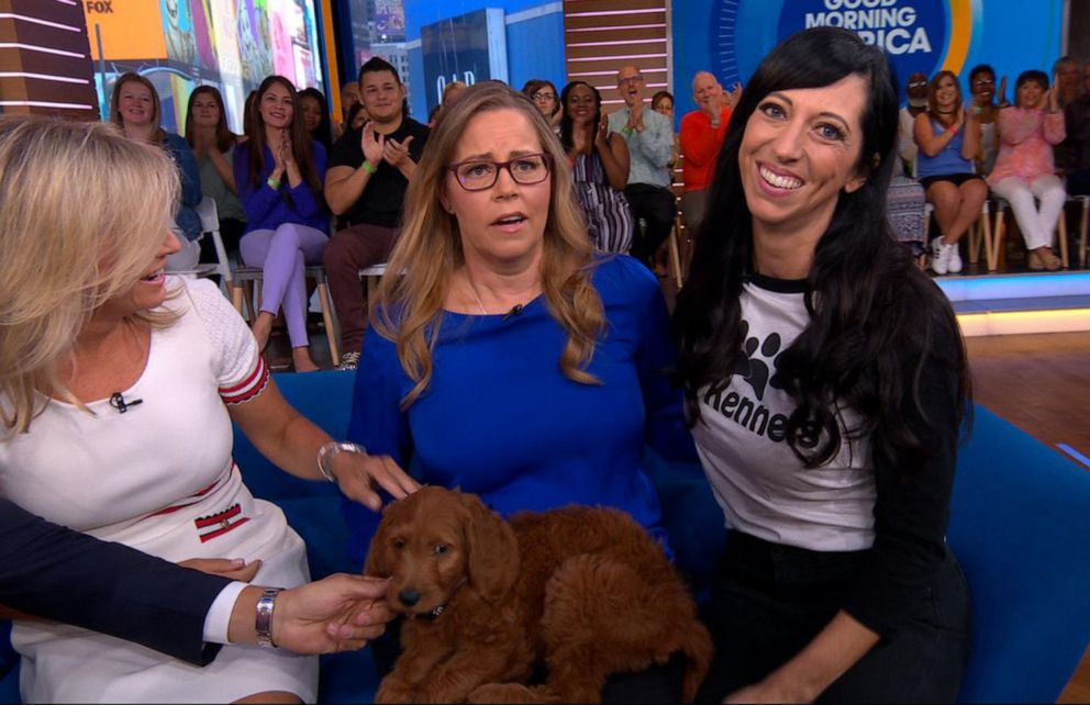 PHOTO: Former nurse Tennille Strode, who has Parkinsons disease, is surprised with a service dog by Jeanette Forrey of 4E Kennels on Good Morning America, Aug. 12, 2019.
