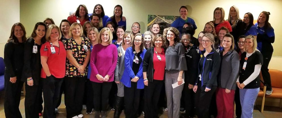 PHOTO: Nurses at Mercy Childrens Hospital in Missouri donated their lottery winnings to two fellow nurses.