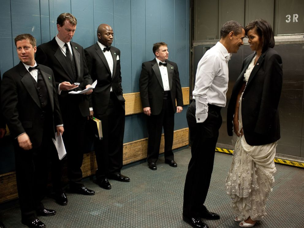 PHOTO: President Barack Obama and his wife Michelle, share a moment in a freight elevator on they way to one of the Inaugural Balls, Jan. 20, 2009, in Washington.