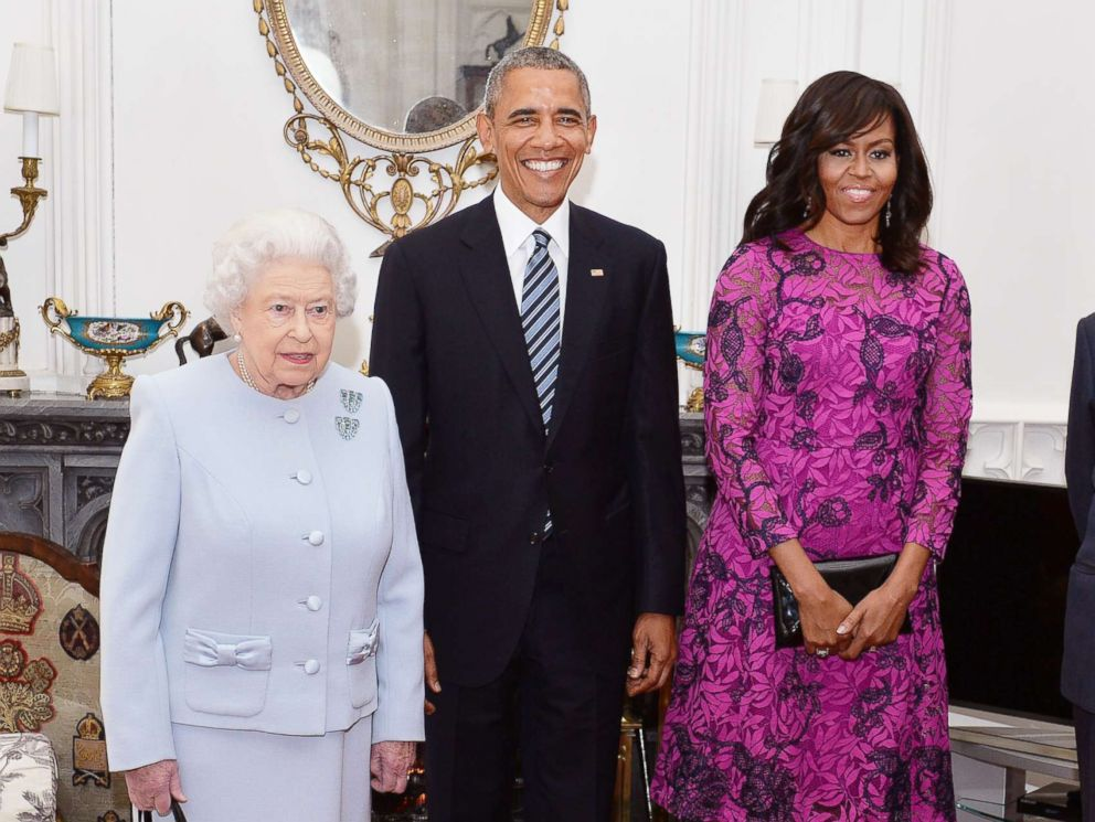 PHOTO: Queen Elizabeth II and Prince Philip, Duke of Edinburgh, stand with President Barack Obama and first lady Michelle Obama in the Oak Room at Windsor Castle on April 22, 2016 in Windsor, England.