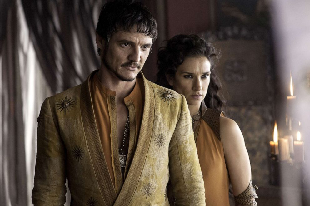 Pedro Pascal, as Oberyn Martell, and Indira Varma, Ellaria Sand, in a scene from 'Game of Thrones.'