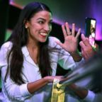 Representative-elect Alexandria Ocasio-Cortez celebrates her victory at La Boom night club in Queens, Nov. 6, 2018 in New York City.