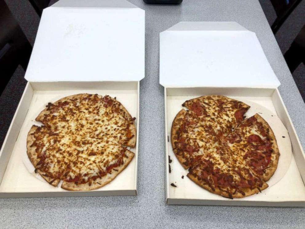 PHOTO: Hot cheese and pepperoni pizzas from the Ohio State pizza ATM.