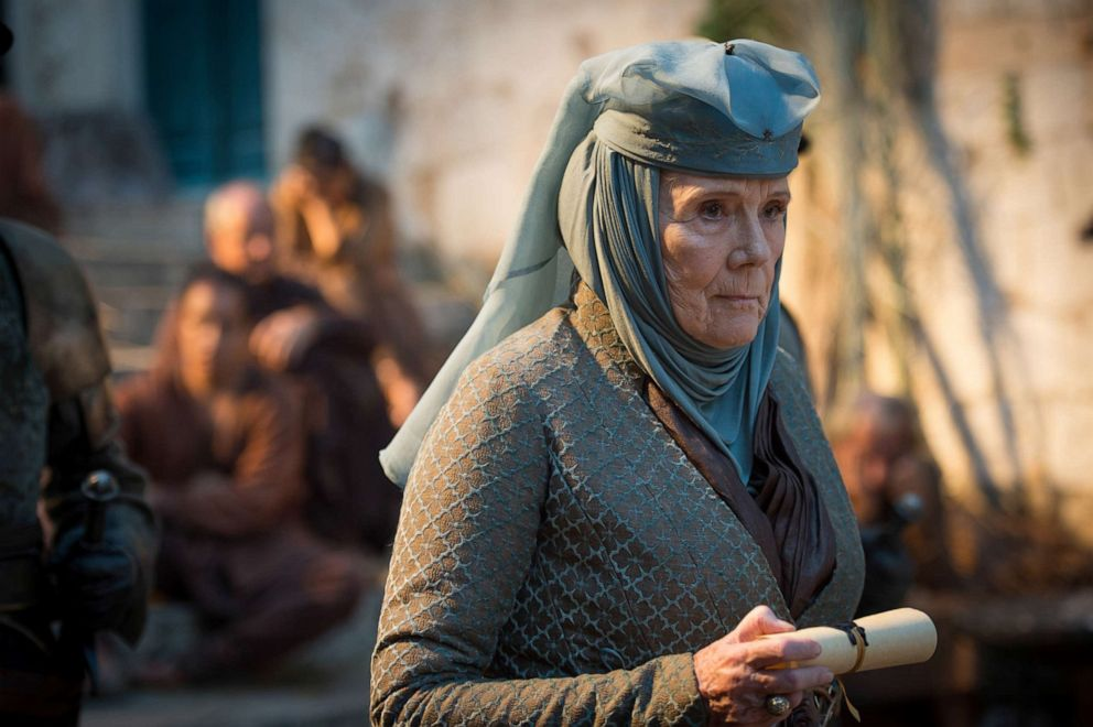 Diana Rigg, as Olenna Tyrell, in a scene from 'Game of Thrones.'