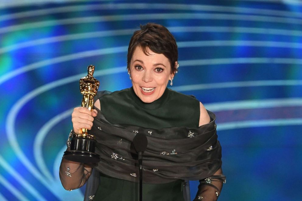 PHOTO: Best Actress nominee for The Favourite Olivia Colman accepts the award for Best Actress during the 91st Annual Academy Awards at the Dolby Theatre in Hollywood, Calif., Feb. 24, 2019.