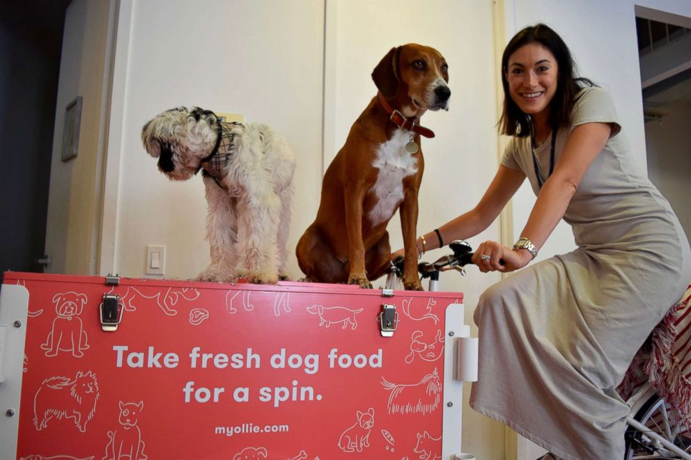Ollie co-founder Gabby Slome is pictured with her dogs in the Ollie office.