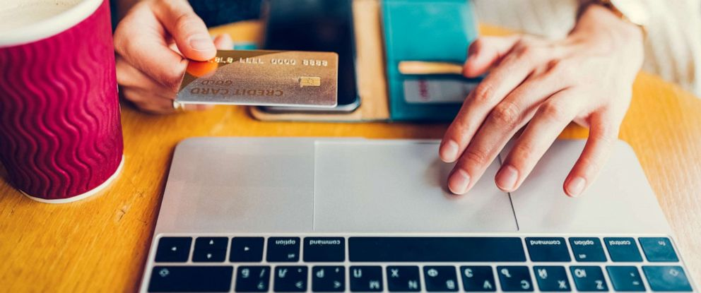 PHOTO: A woman online shops in this stock photo.