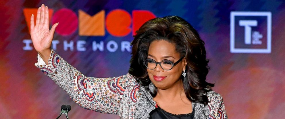 PHOTO: Oprah Winfrey speaks onstage at the 10th Anniversary Women In The World Summit at David H. Koch Theater at Lincoln Center, April 10, 2019, in New York City.