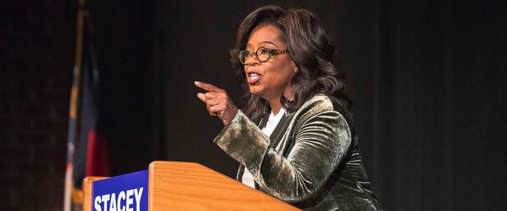 PHOTO: Oprah Winfrey speaks to a crowd during a town hall conversation for gubernatorial candidate Stacey Abrams at the Cobb Civic Centers Jennie T. Anderson Theatre in Marietta, Ga., Nov. 1, 2018.