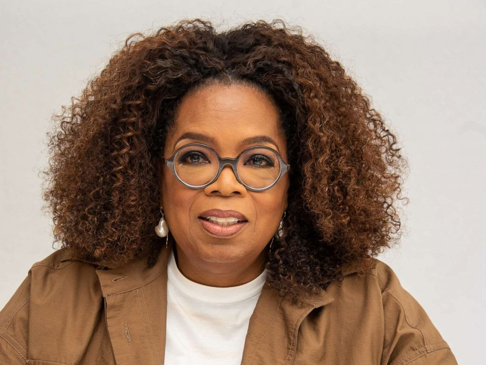 PHOTO: Oprah Winfrey speaks at a press conference on Aug. 06, 2019, in Beverly Hills, Calif.