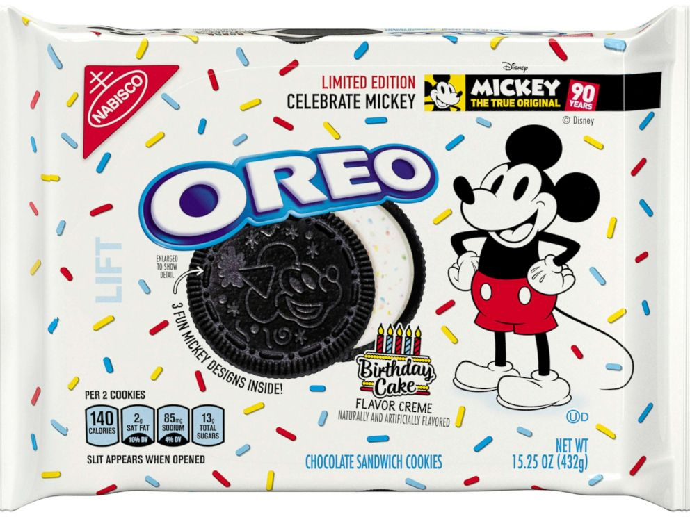 Amazing New Birthday Cake Flavored Oreos Celebrate Mickey Mouses 90Th Funny Birthday Cards Online Overcheapnameinfo