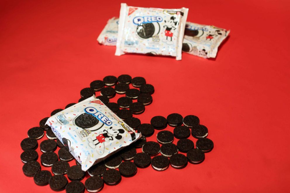 PHOTO: The Mickey Mouse birthday cake Oreos have three different designs in honor of Mickeys 90th anniversary.