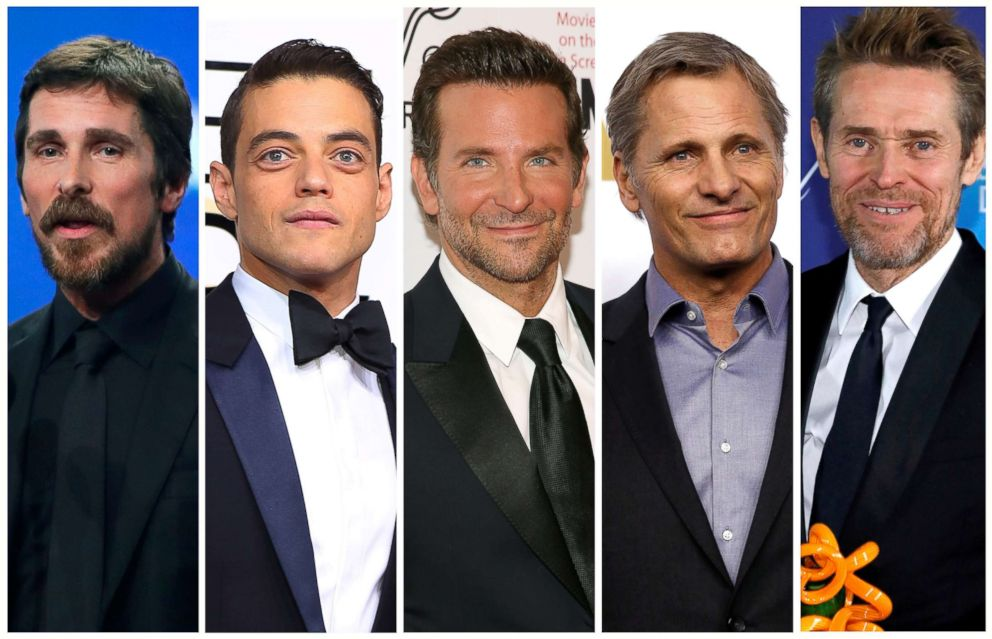 PHOTO: Best actor Oscar nominees for the 91st annual Academy Awards, from left, Christian Bale, Rami Malek, Bradley Cooper, Viggo Mortensen and Willem Dafoe.