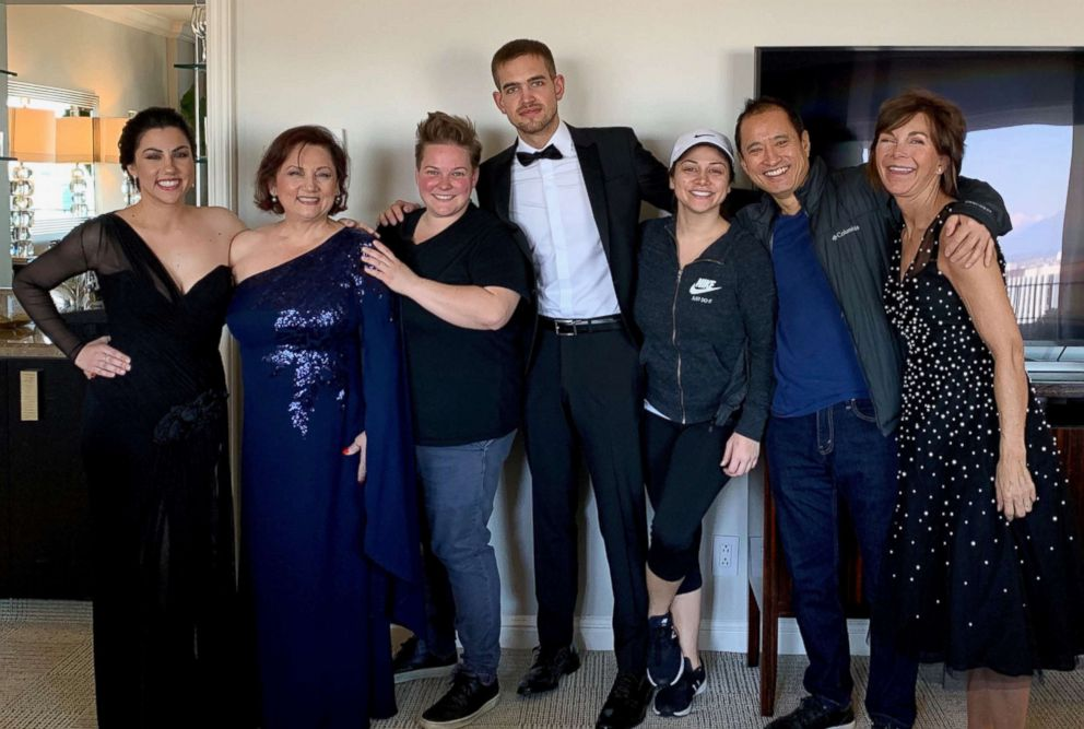 Rayka Zehtabchi's family gathers in her hotel room for a quick family photo before the Oscars.