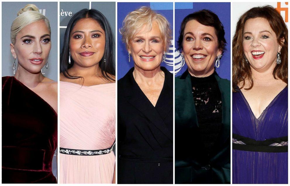 Best actress Oscar nominees for the 91st annual Academy Awards, from left,  Lady Gaga, Yalitza Aparicio, Glenn Close, Olivia Colman and Melissa McCarthy.