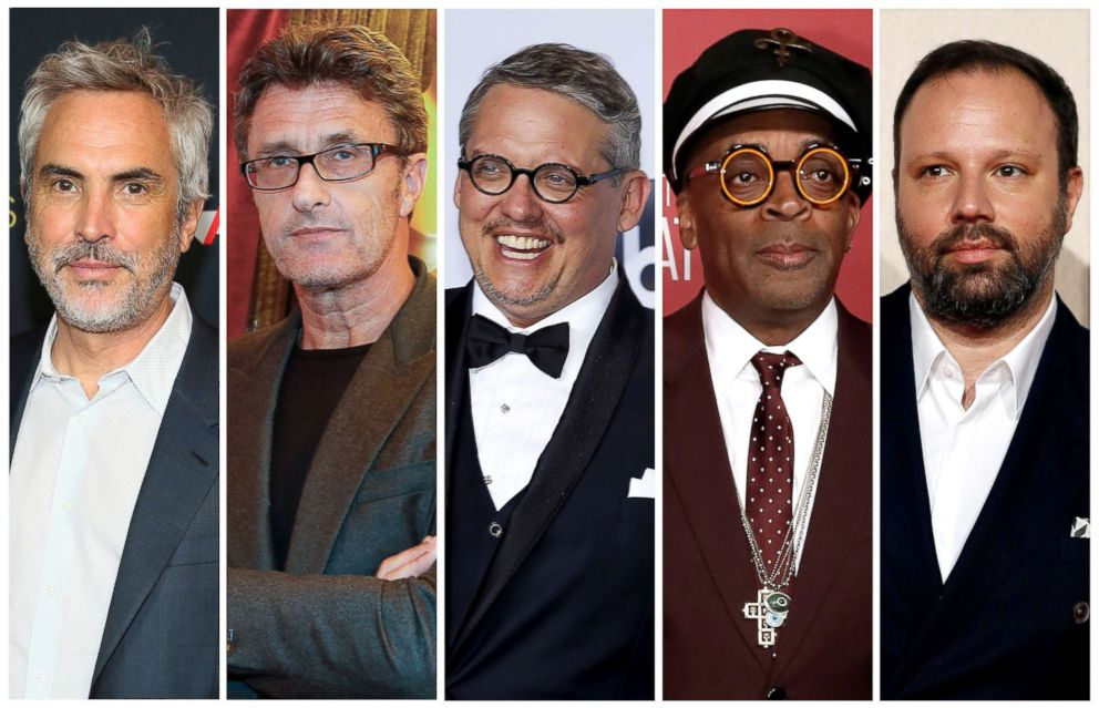 Best director Oscar nominees for the 91st annual Academy Awards, from left, Alfonso Cuaron, Pawel Pawlikowski, Adam McKay, Spike Lee and Yorgos Lanthimos.