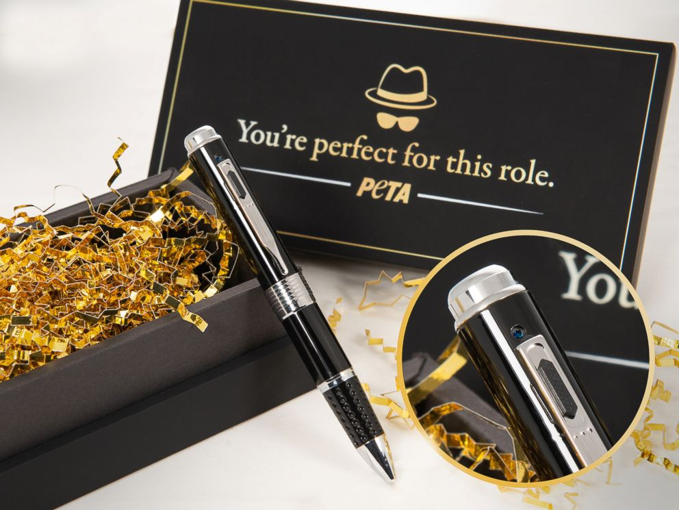 PHOTO: A PETA spy pen to help people blow the whistle on animal abuse comes with the unofficial Oscars gift bag.
